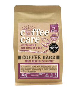 A kraft packet of Coffee Care's Three Peaks Blend Coffee Bags. 15 coffee bags of speciality freshly roasted & ground , Central & South America Coffee. 100% Arabica. Deliciouslyorkshire Winner 2017