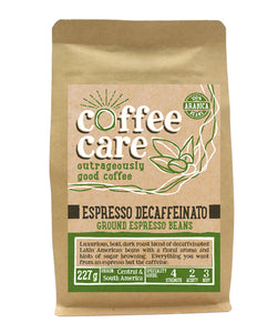 227g kraft packet of Coffee Care's Espresso Decaffeinato ground espresso beans. Light green label for ground espresso. Freshly ground Central & South America Coffee. 100% Arabica Beans