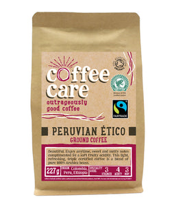 A 227g kraft packet of Coffee Care's Guatemalan Maragogype ground coffee. Pink label ground for filter & cafetiere. Freshly ground Guatemalan Coffee. 100% Arabica. Great Taste Award Winner 2017