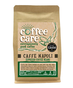 A 227g kraft packet of Coffee Care's Cafe Napoli Espresso Beans. Dark green label for espresso beans. Freshly roasted Asia, Africa & Central America Coffee. Great Taste Winner 2018