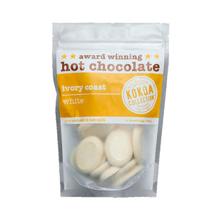 Kokoa Collection 250g clear packed with yellow band. Award winning hot chocolate. Ivory coast white hot chocolate pebbles
