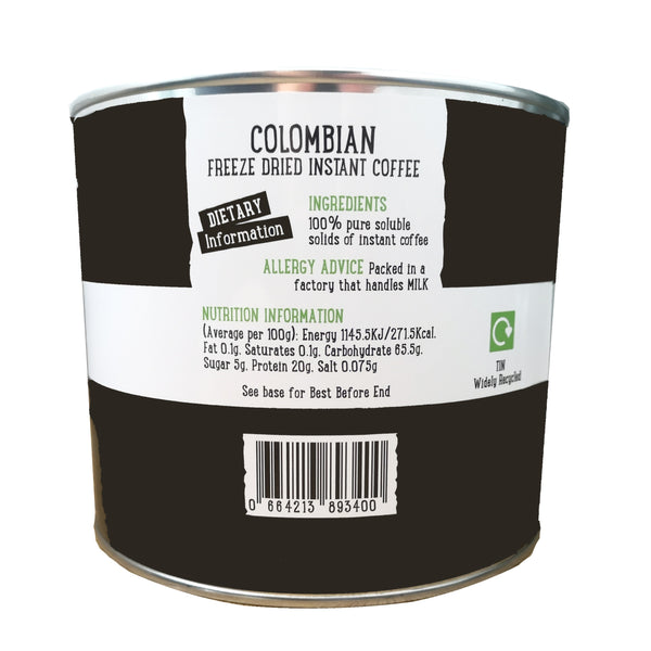 metal tin of Coffee Care's Colombian Freeze Dried Instant Coffee. dietary information and nutritional advice. Tin widely recyclable