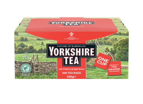 Yorkshire landscape cardboard box of 200 one cup individually foil wrapped tagged tea bags. Yorkshire Tea, Taylors of Harrogate, Rainforest Certified - Let's have a proper brew