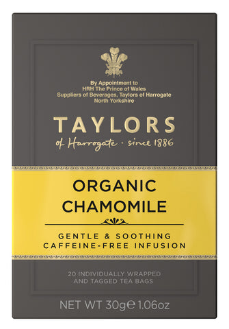 A small grey cardboard box with 20 individually wrapped and tagged Taylors of Harrogate Organic Chamomile. Yellow label – Gentle a& soothing caffeine free infusion