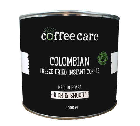 metal tin of Coffee Care's Colombian Freeze Dried Instant Coffee. 500g of arabica coffee. Medium roast, rich and smooth