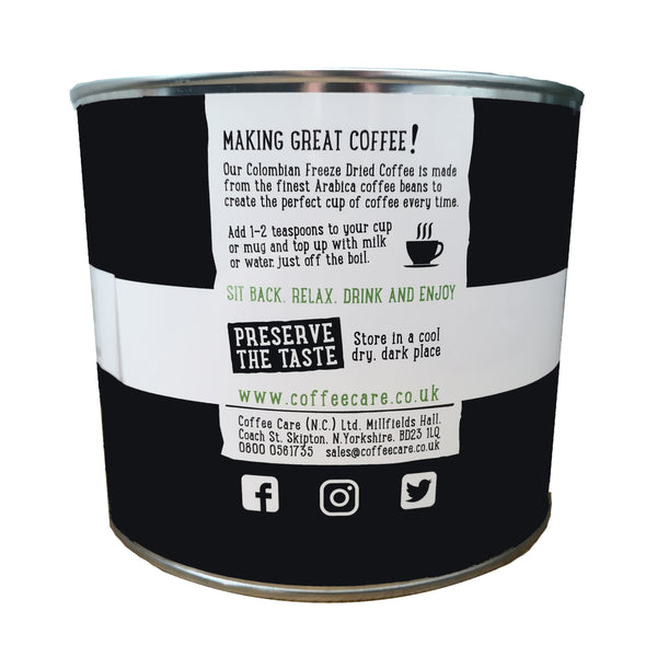 metal tin of Coffee Care's Colombian Freeze Dried Instant Coffee. Add 1-2 teaspone per cup. Store in cool dry dark place.