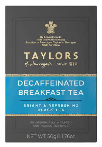 A small grey cardboard box with 20 individually wrapped and tagged Taylors of Harrogate Decaffeinated Breakfast Tea. Blue label –Bright & refreshing black tea