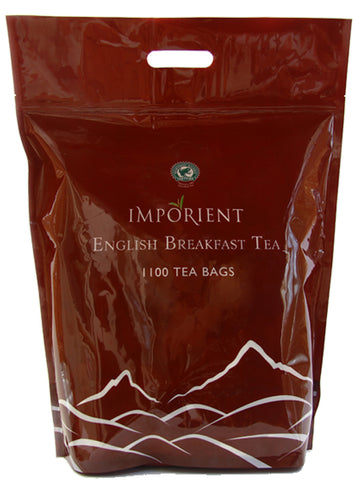 Large dark red poly bag of 1100 Imporient English breakfast tea bags – Rainforest Certified