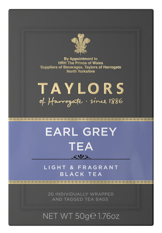A small grey cardboard box with 20 individually wrapped and tagged Taylors of Harrogate Earl Grey. Purple label – Light & fragrant black tea