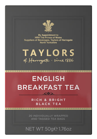 A small grey cardboard box with 20 individually wrapped and tagged Taylors of Harrogate English Breakfast tea bags. Red label – Rich & bright black tea