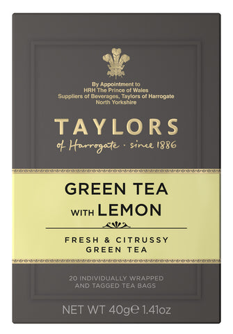 A small grey cardboard box with 20 individually wrapped and tagged Taylors of Harrogate Green Tea with Lemon. Green label – Fresh citrussy green tea