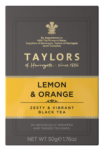 A small grey cardboard box with 20 individually wrapped and tagged Taylors of Harrogate Lemon & Orange. Orange label – Zesty & vibrant black tea