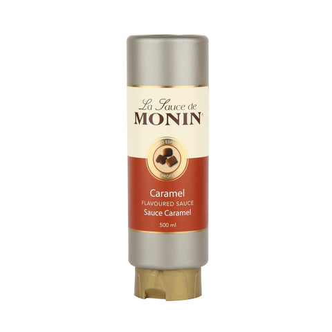500ml bottle of MONIN Caramel flavoured sauce. Le Sauce de MONIN squeezable bottle