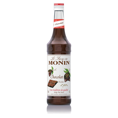 A 70cl glass bottle of MONIN Chocolate Syrup.