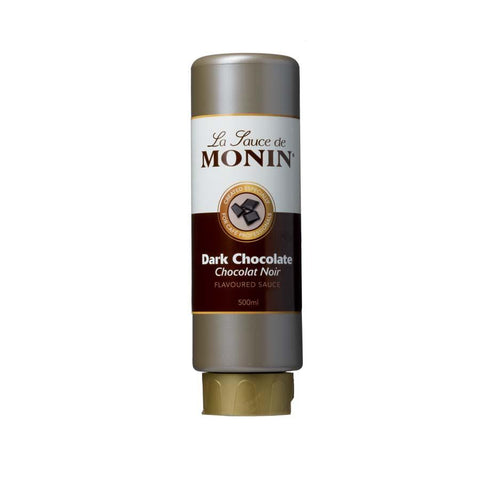 500ml bottle of MONIN Dark Chocolate flavoured sauce. Le Sauce de MONIN squeezable bottle. Chocolat Noir