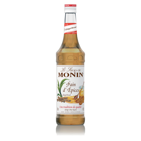 A 70cl glass bottle of MONIN Gingerbread (Pain d' Epices) Syrup.