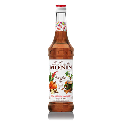A 70cl glass bottle of MONIN Pumpkin Spice Syrup.