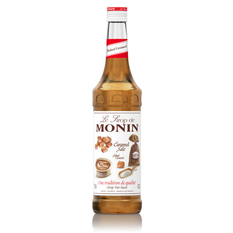 A 70cl glass bottle of MONIN Salted Caramel (Caramel Sale) Syrup.