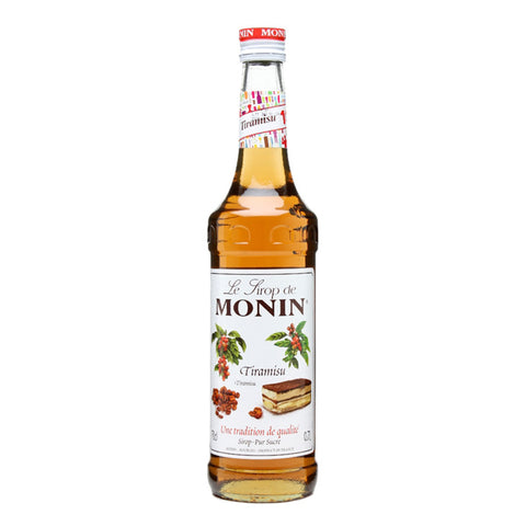 A 70cl glass bottle of MONIN Tiramisu Syrup.