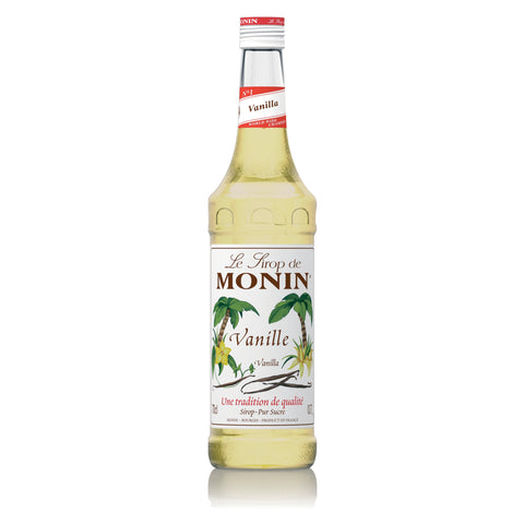 A 70cl glass bottle of MONIN Vanilla (Vanille) Syrup.