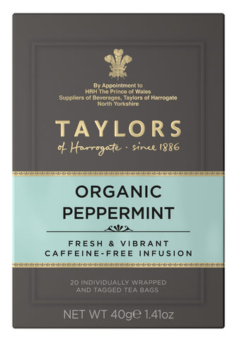 A small grey cardboard box with 20 individually wrapped and tagged Taylors of Harrogate Organic Peppermint. Light blue label – Fresh & vibrant caffeine free infusion
