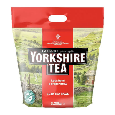 Yorkshire landscape large poly bag of 1040 Yorkshire Tea Bags, Taylors of Harrogate, Rainforest Certified - Let's have a proper brew