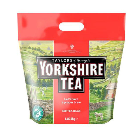 Yorkshire landscape large poly bag of 600 Yorkshire Tea Bags, Taylors of Harrogate, Rainforest Certified - Let's have a proper brew