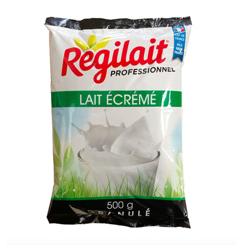 A single packet of Regilait professional whitener. 500g Granulated instant milk powder. LAit Ecreme