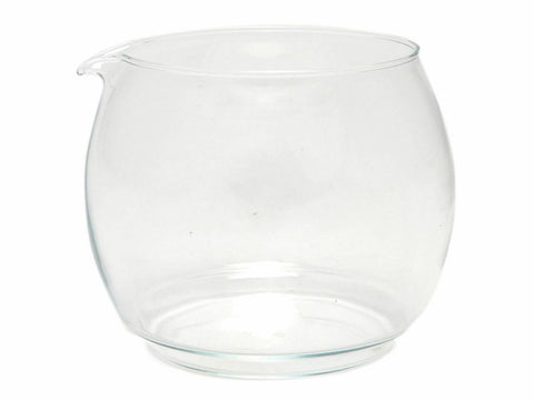 A glass beaker for replacement black plastic tea pot