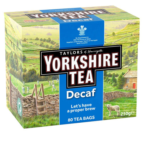 Yorkshire landscape cardboard box of 80 decaf tea bags. Yorkshire Tea, Taylors of Harrogate, decaffeinated black tea - Let's have a proper brew