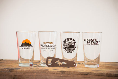 U.P. Bottle Opener, Breweries and UP Pint Glass Set - 4 Pack