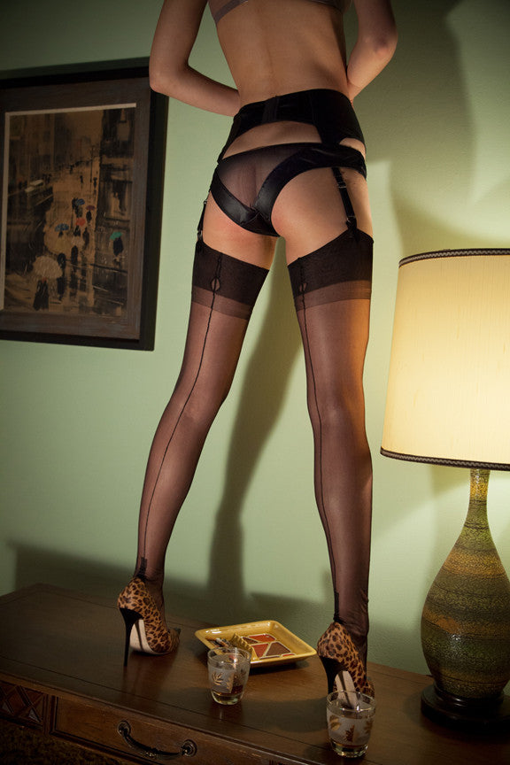 Black Stockings with Leopard Heels
