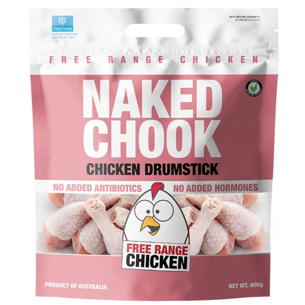 Australian Naked Chook Free Range No Hormones No Antibiotics Chicken Drumsticks (600g)