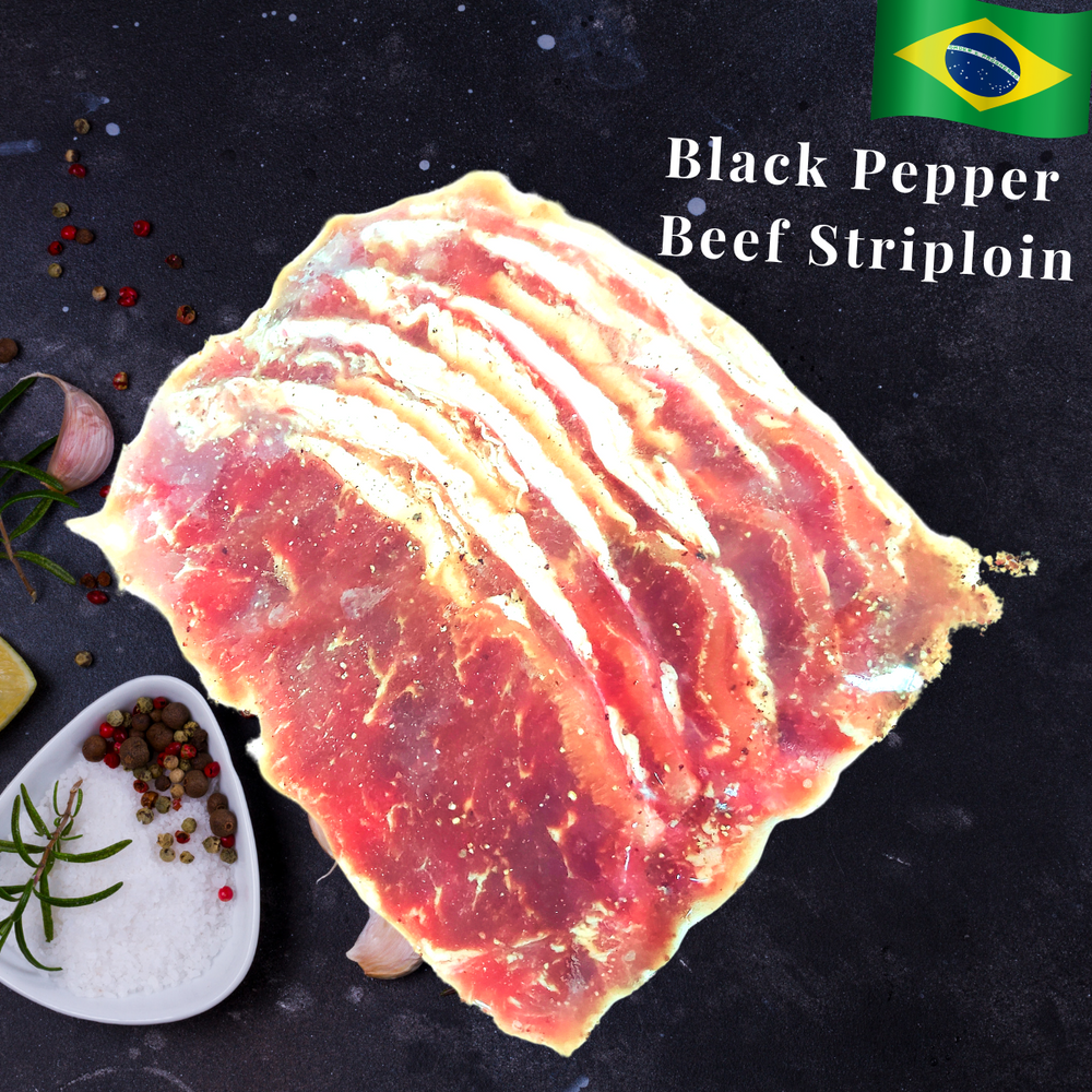 Brazilan Black Pepper Beef Striploin Steak Thin  (5 pcs)