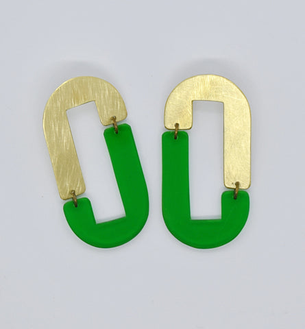 Anza Earrings - Green Transparent