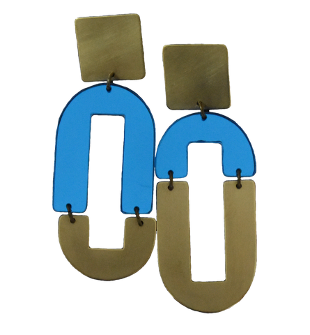 Avenue Earrings - Blue Mirror