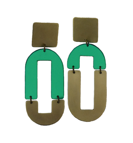 Avenue Earrings - Green Mirror