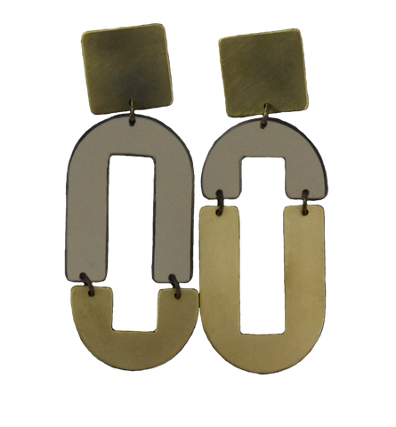 Avenue Earrings - Grey Mirror