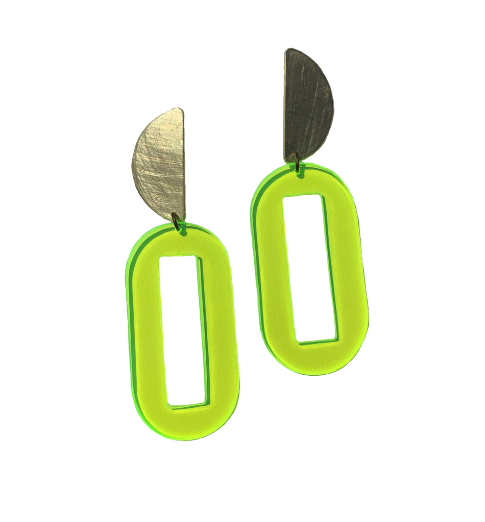Baker Earrings - Neon Yellow Transparent