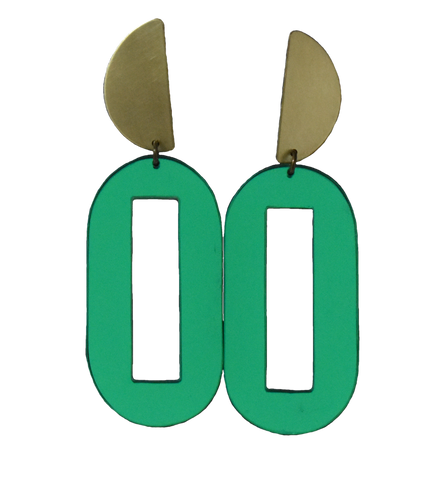 Baker Earrings - Green Mirror