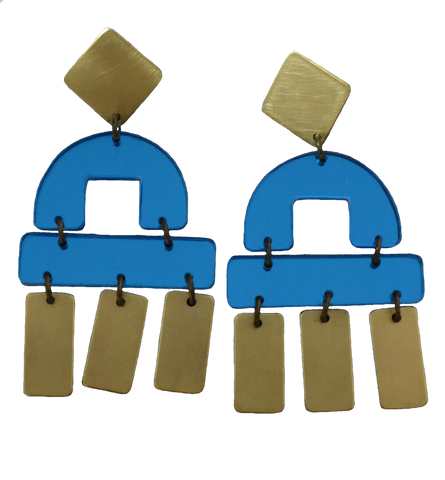 Bay Earrings - Blue Mirror