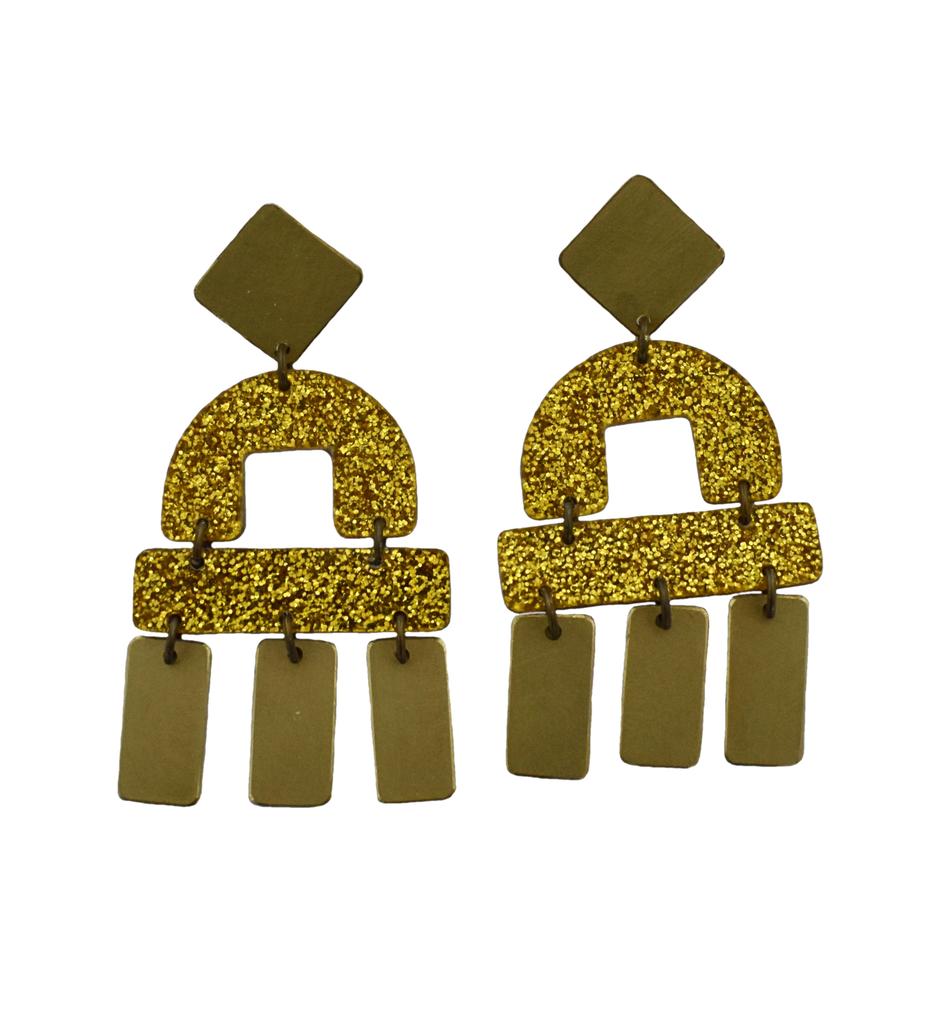 Bay Earrings - Gold Glitter
