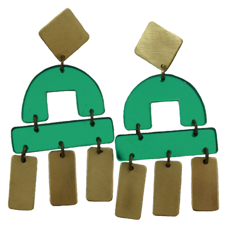 Bay Earrings - Green Mirror