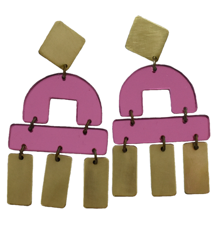 Bay Earrings - Pink Mirror
