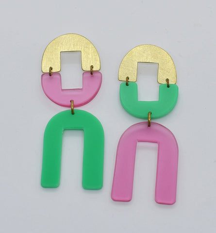 Dewey Earrings - Pink Green