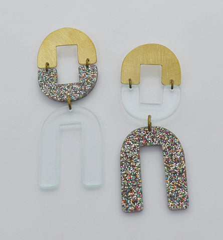 Dewey Earrings - Transparent Rainbow Glitter