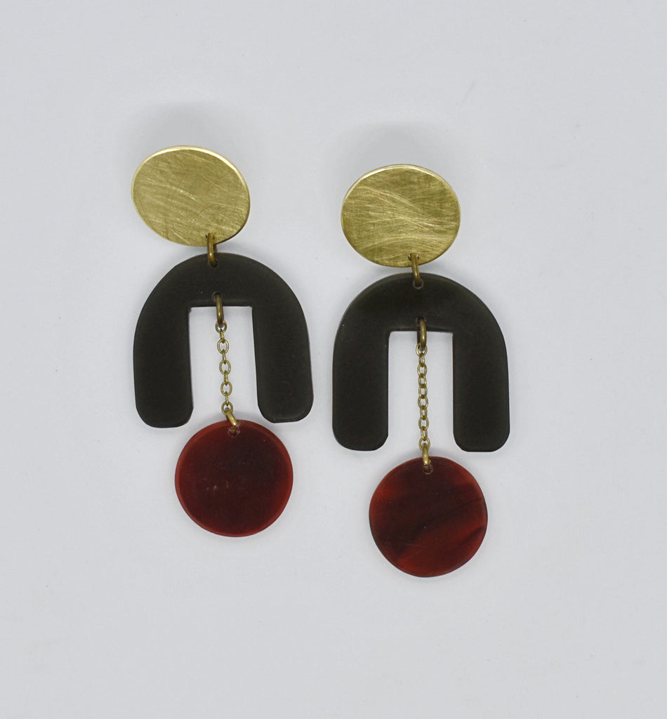 Drake Earrings - Black Tortoise Shell