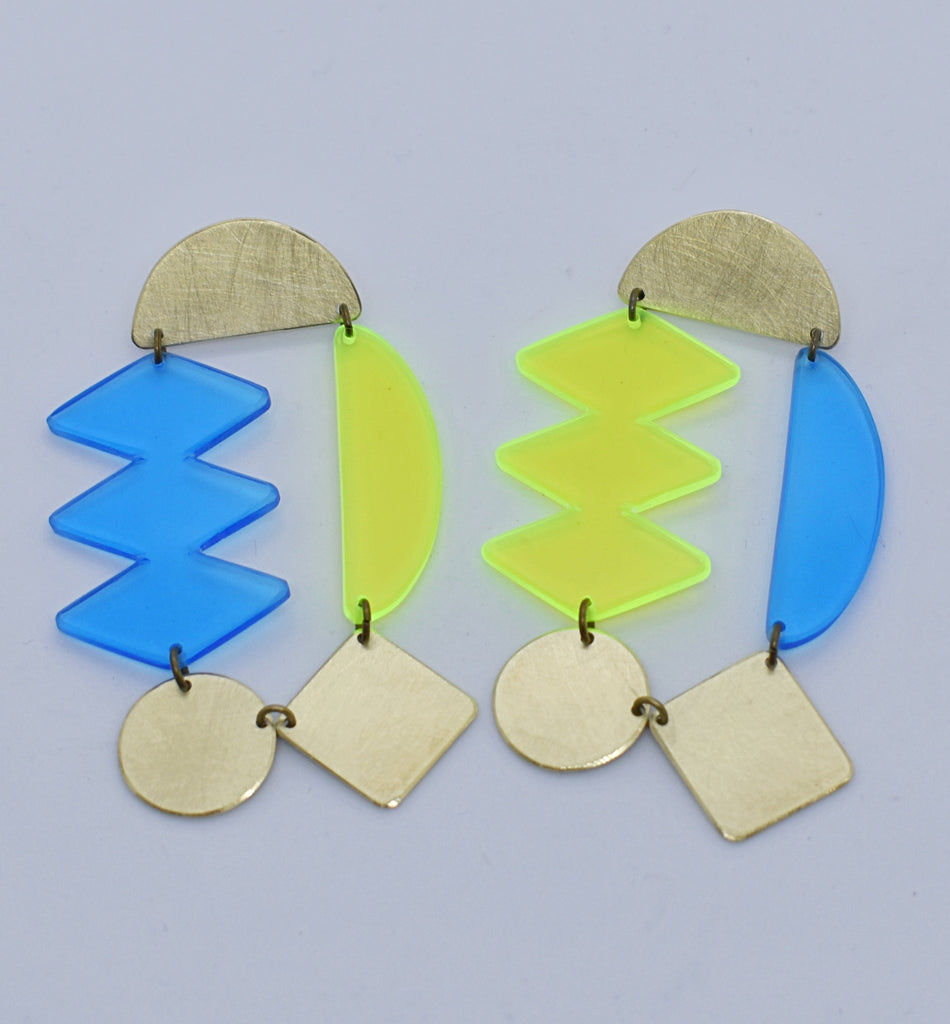 Headlands Earrings - Neon Yellow Blue