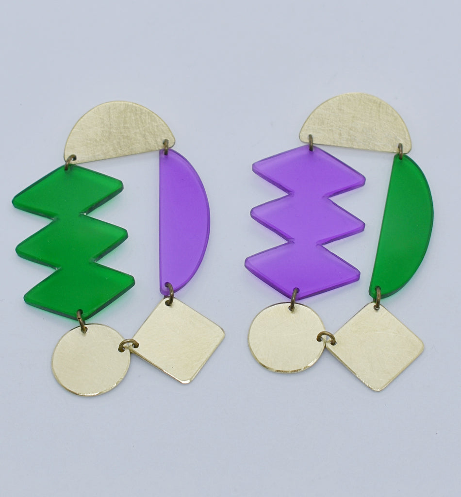Headlands Earrings - Purple Green