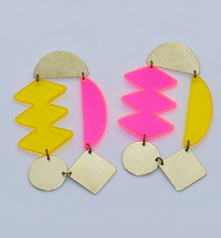 Headlands Earrings - Neon Pink Yellow